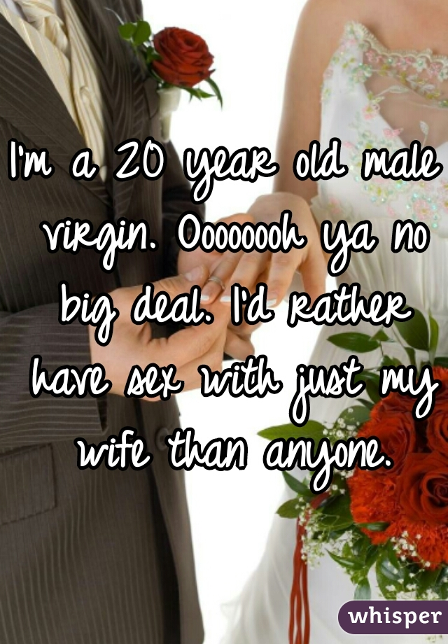 I'm a 20 year old male virgin. Oooooooh ya no big deal. I'd rather have sex with just my wife than anyone.