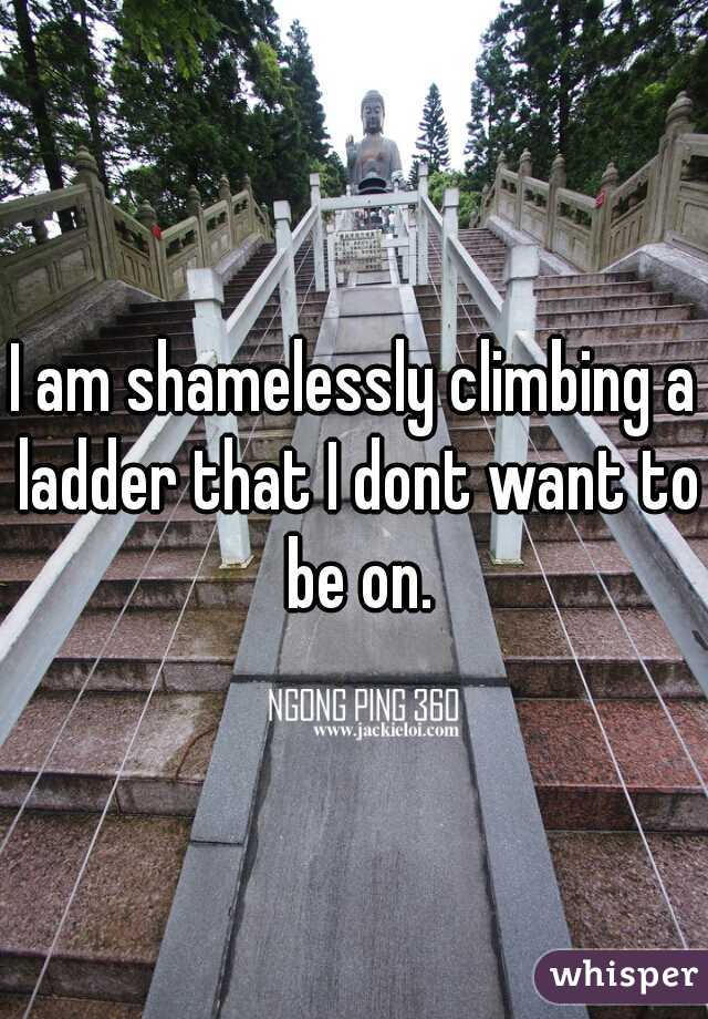 I am shamelessly climbing a ladder that I dont want to be on.