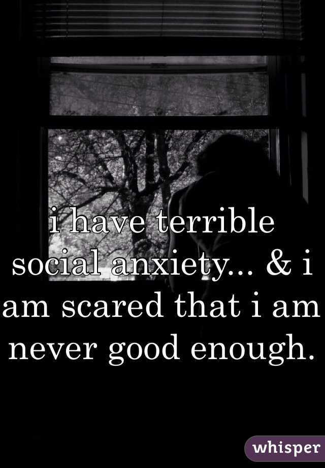 i have terrible social anxiety... & i am scared that i am never good enough.