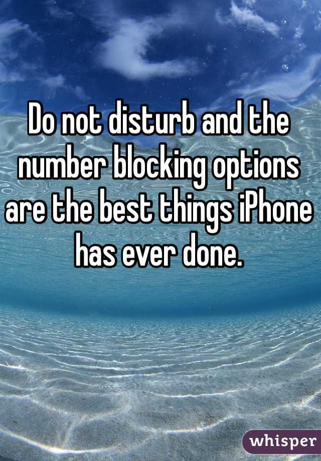 Do not disturb and the number blocking options are the best things iPhone has ever done.