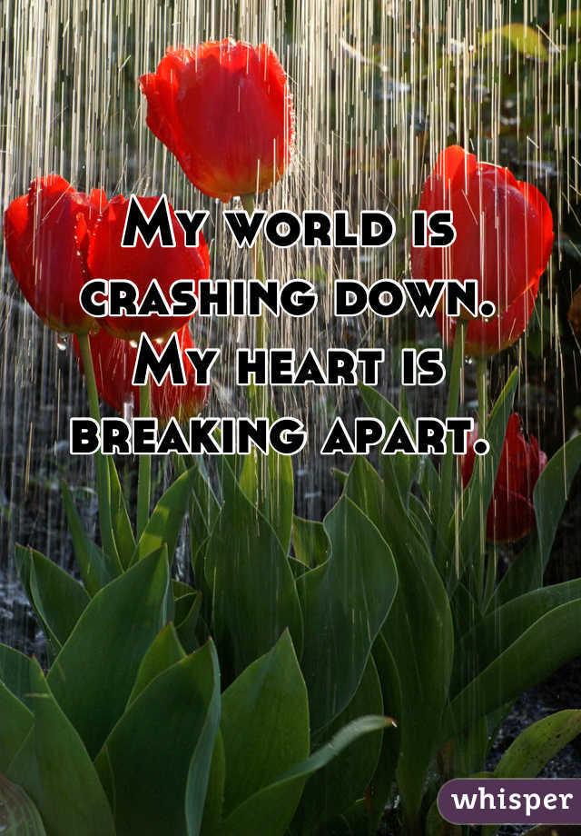 My world is crashing down.  My heart is breaking apart.
