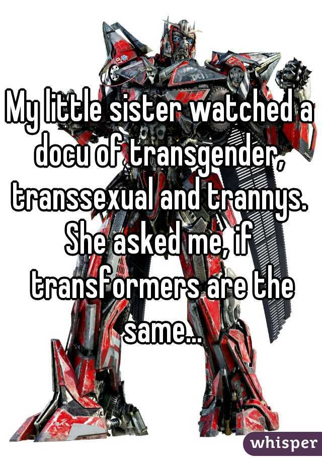 My little sister watched a docu of transgender,  transsexual and trannys.  She asked me, if transformers are the same...