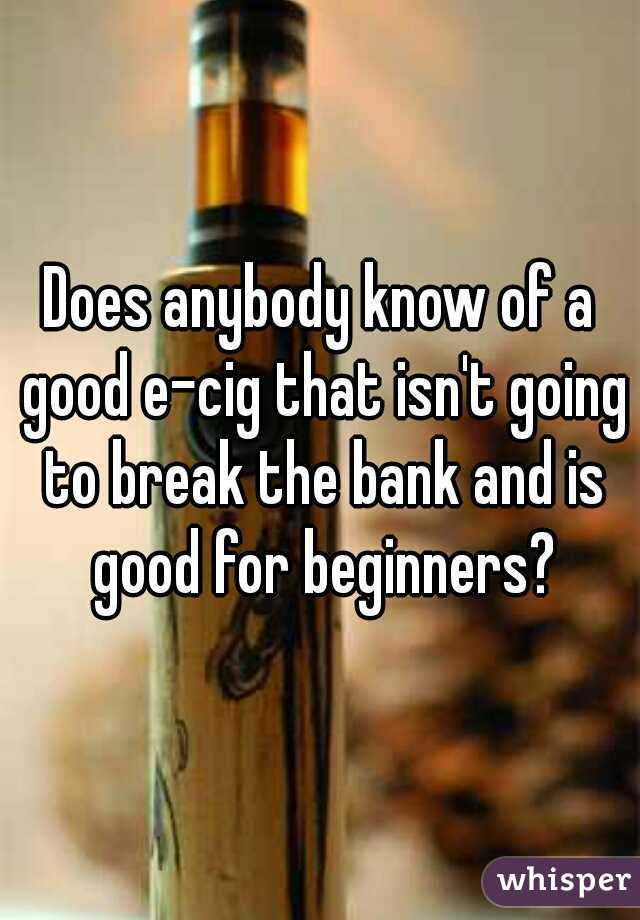 Does anybody know of a good e-cig that isn't going to break the bank and is good for beginners?
