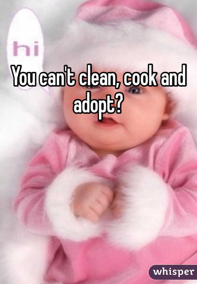 You can't clean, cook and adopt?