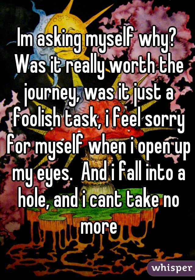 Im asking myself why? Was it really worth the journey, was it just a foolish task, i feel sorry for myself when i open up my eyes.  And i fall into a hole, and i cant take no more