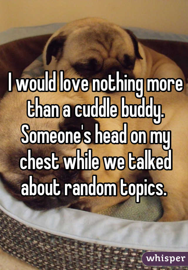 I would love nothing more than a cuddle buddy. Someone's head on my chest while we talked about random topics.