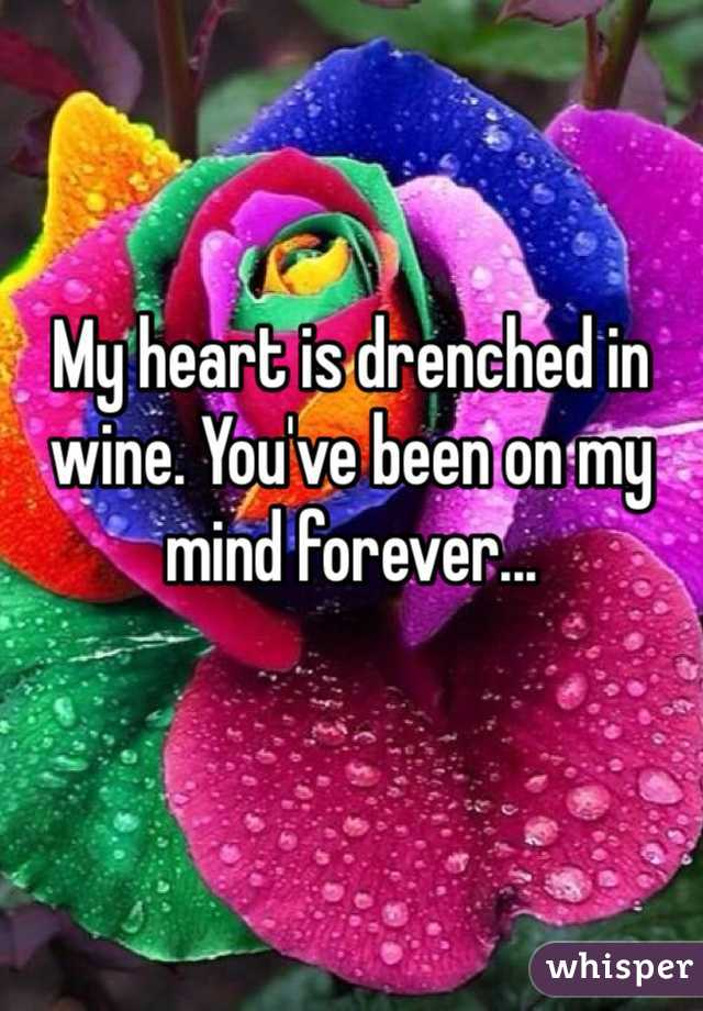 My heart is drenched in wine. You've been on my mind forever...