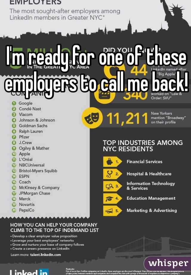 I'm ready for one of these employers to call me back!