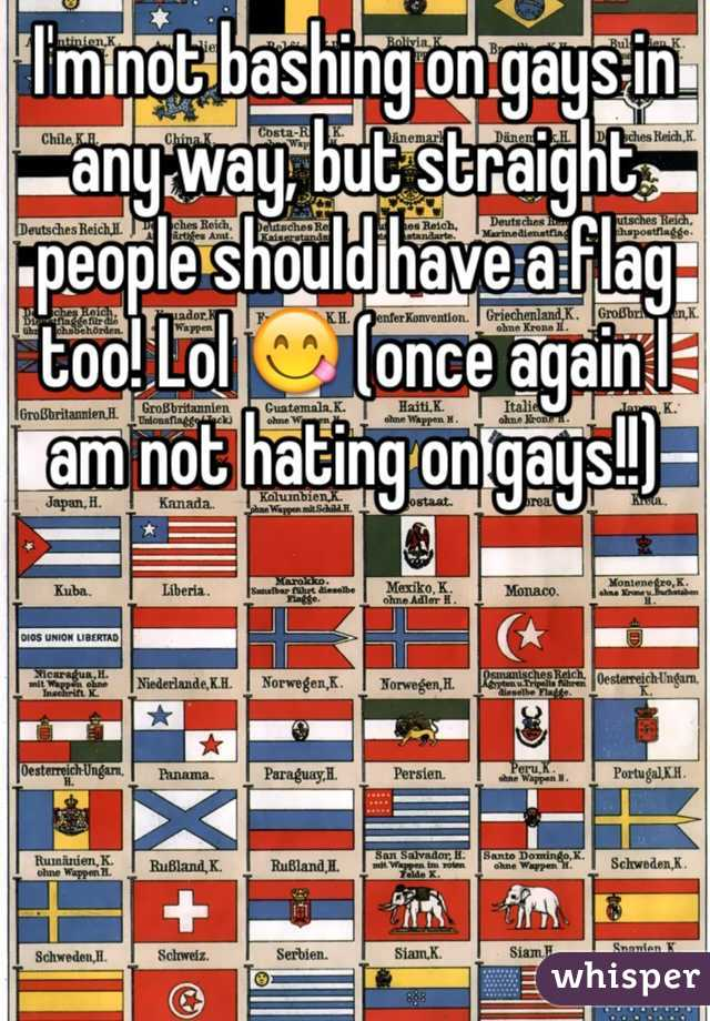I'm not bashing on gays in any way, but straight people should have a flag too! Lol 😋 (once again I am not hating on gays!!)