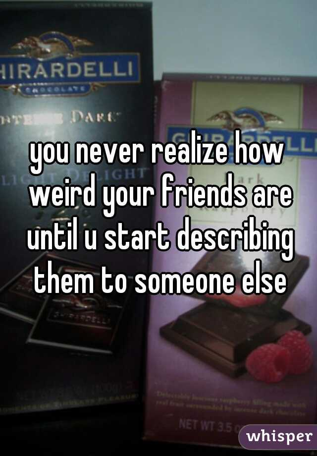 you never realize how weird your friends are until u start describing them to someone else