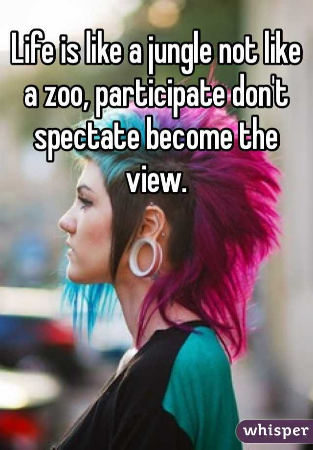 Life is like a jungle not like a zoo, participate don't spectate become the view.