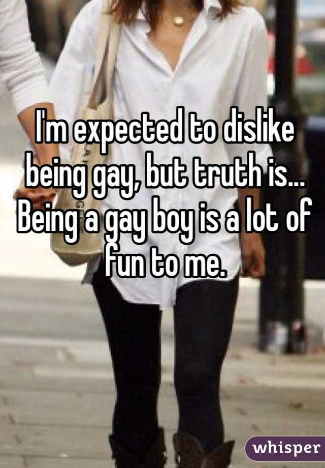 I'm expected to dislike being gay, but truth is... Being a gay boy is a lot of fun to me.