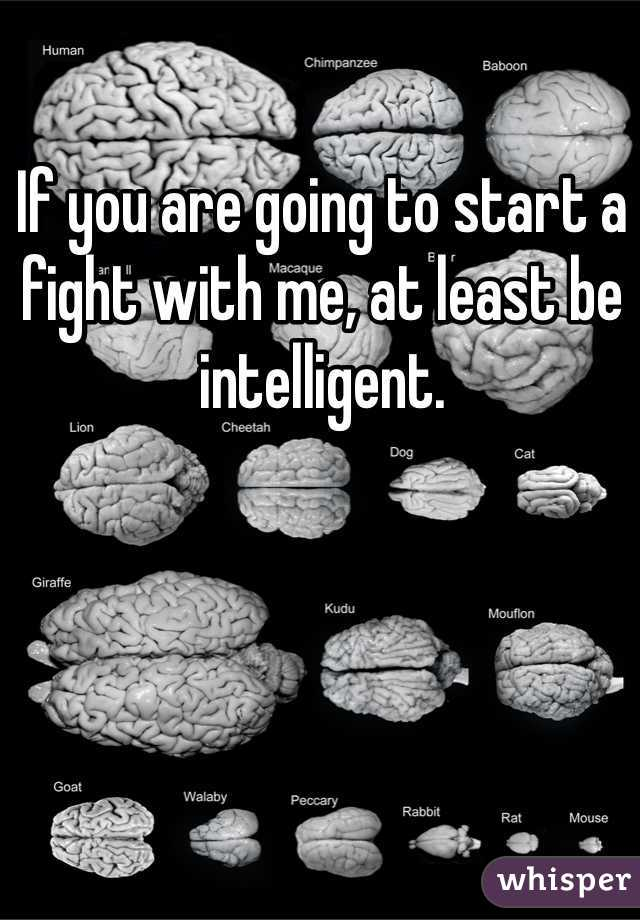 If you are going to start a fight with me, at least be intelligent.
