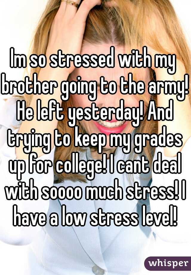 Im so stressed with my brother going to the army! He left yesterday! And trying to keep my grades up for college! I cant deal with soooo much stress! I have a low stress level!