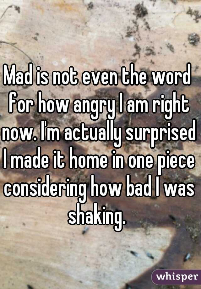 Mad is not even the word for how angry I am right now. I'm actually surprised I made it home in one piece considering how bad I was shaking.