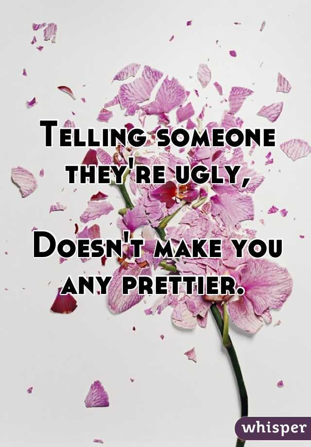 Telling someone they're ugly,  Doesn't make you any prettier.