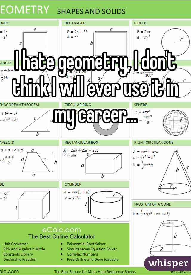 I hate geometry, I don't think I will ever use it in my career...