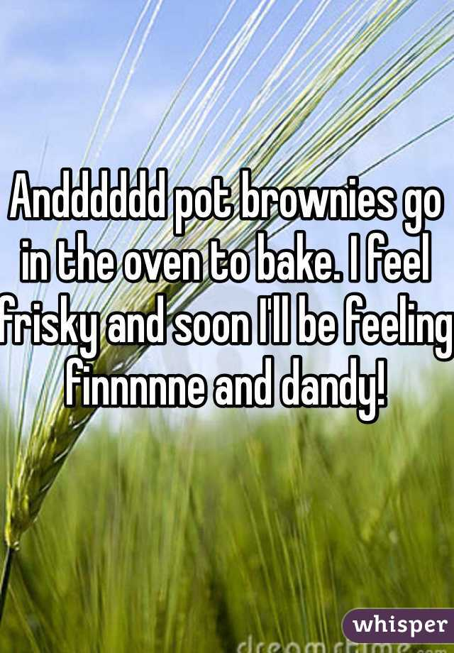 Andddddd pot brownies go in the oven to bake. I feel frisky and soon I'll be feeling finnnnne and dandy!