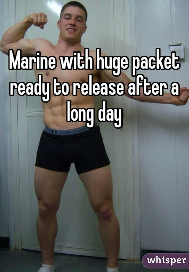 Marine with huge packet ready to release after a long day