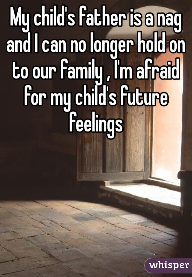 My child's father is a nag and I can no longer hold on to our family , I'm afraid for my child's future feelings