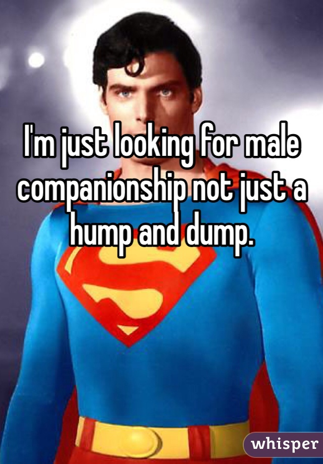 I'm just looking for male companionship not just a hump and dump.