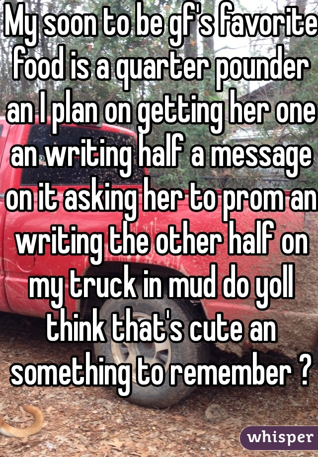 My soon to be gf's favorite food is a quarter pounder an I plan on getting her one an writing half a message on it asking her to prom an writing the other half on my truck in mud do yoll think that's cute an something to remember ?
