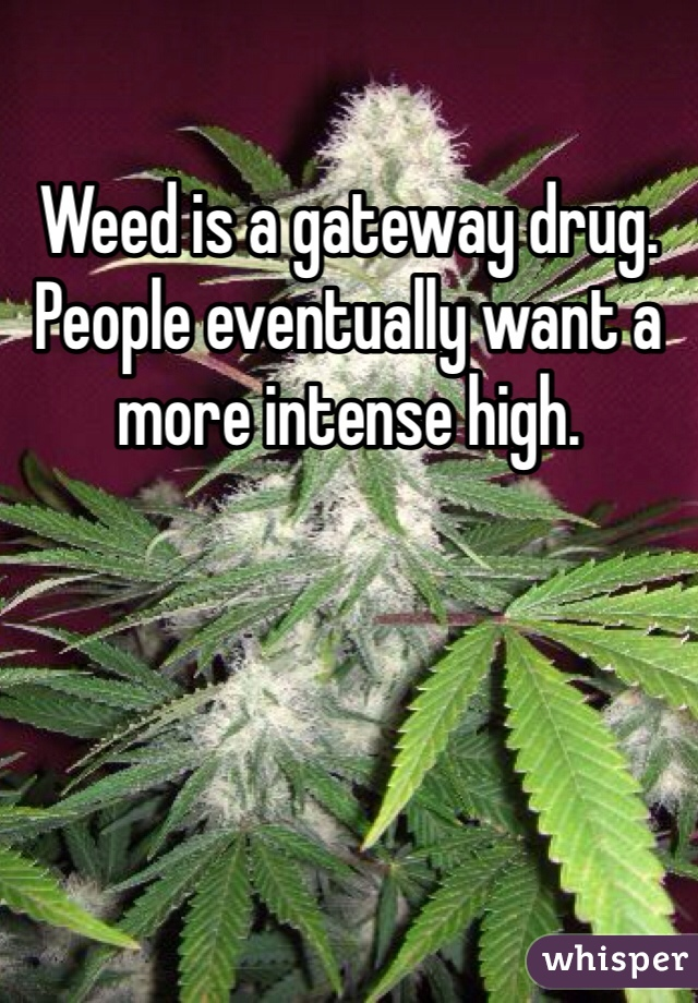 Weed is a gateway drug. People eventually want a more intense high.