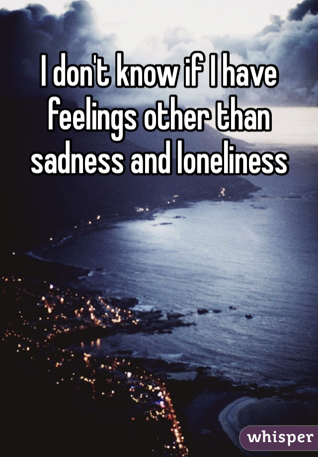 I don't know if I have feelings other than sadness and loneliness