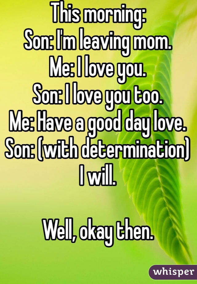 This morning:  Son: I'm leaving mom.  Me: I love you.  Son: I love you too.  Me: Have a good day love.  Son: (with determination)  I will.   Well, okay then.