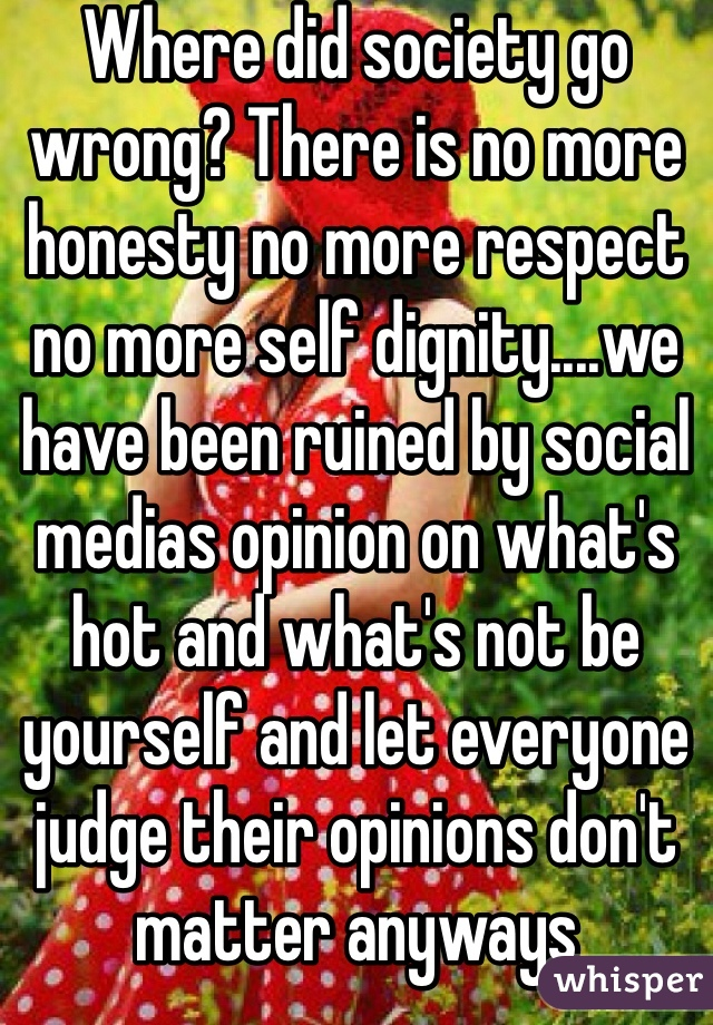 Where did society go wrong? There is no more honesty no more respect no more self dignity....we have been ruined by social medias opinion on what's hot and what's not be yourself and let everyone judge their opinions don't matter anyways