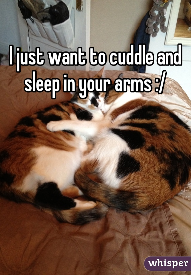 I just want to cuddle and sleep in your arms :/