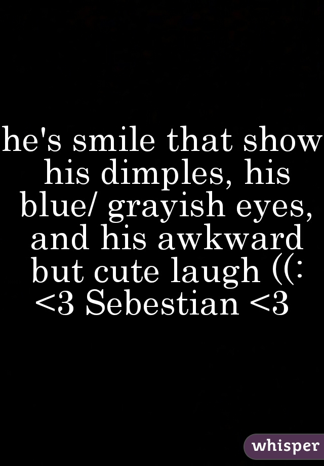 he's smile that show his dimples, his blue/ grayish eyes, and his awkward but cute laugh ((: <3 Sebestian <3