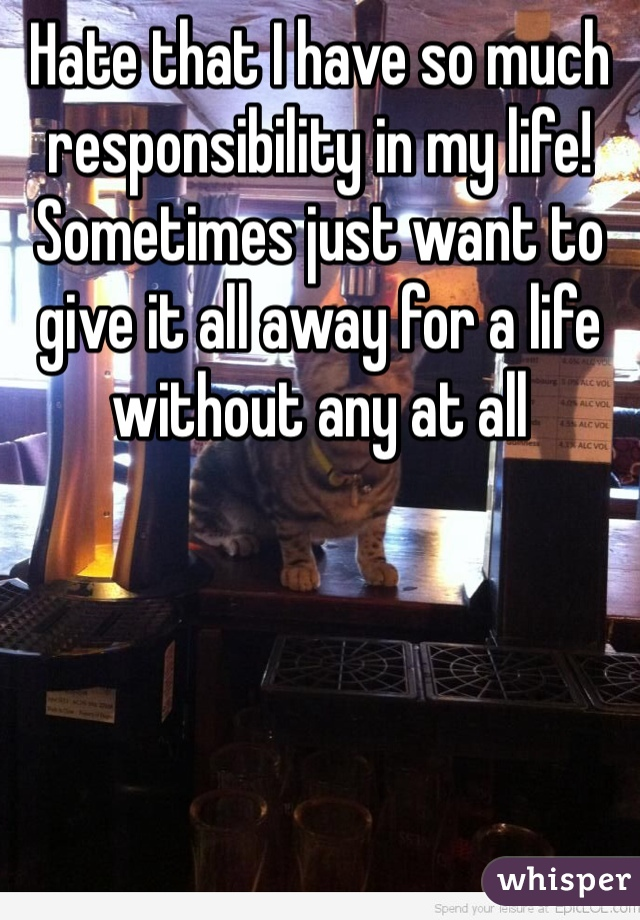 Hate that I have so much responsibility in my life!  Sometimes just want to give it all away for a life without any at all