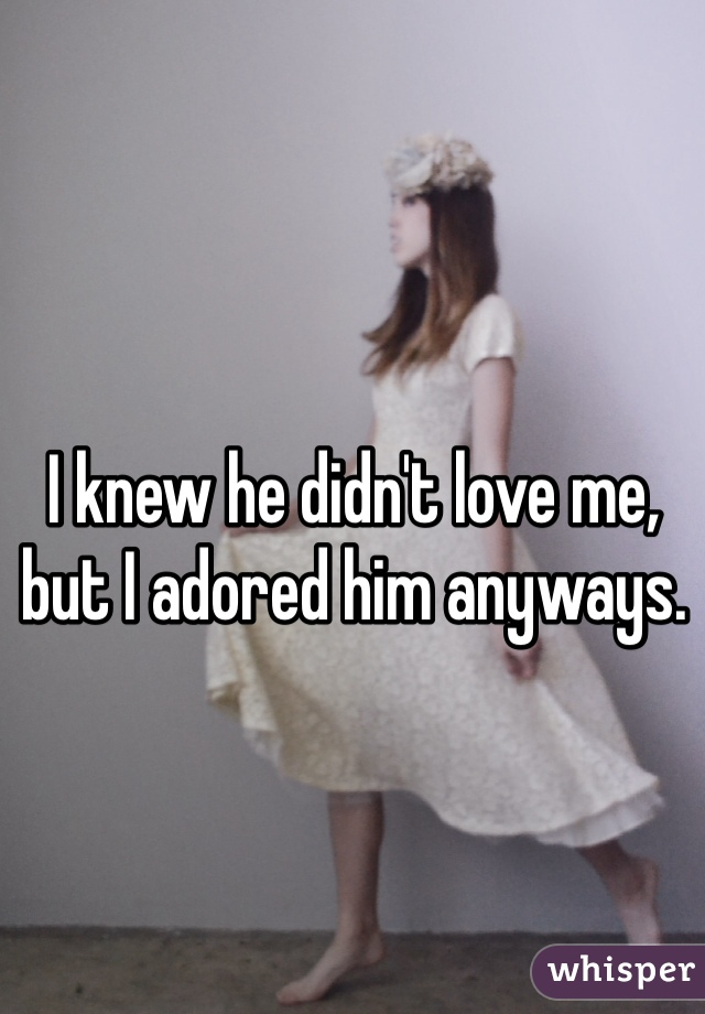 I knew he didn't love me, but I adored him anyways.