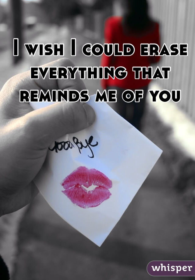 I wish I could erase everything that reminds me of you