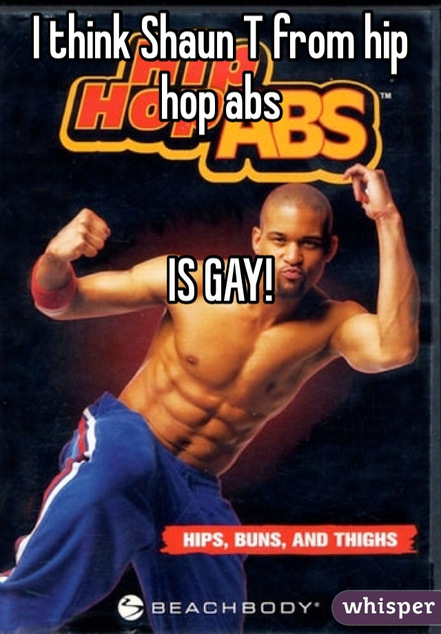 I think Shaun T from hip hop abs   IS GAY!