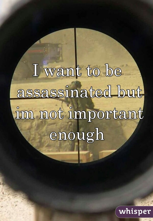 I want to be assassinated but im not important enough
