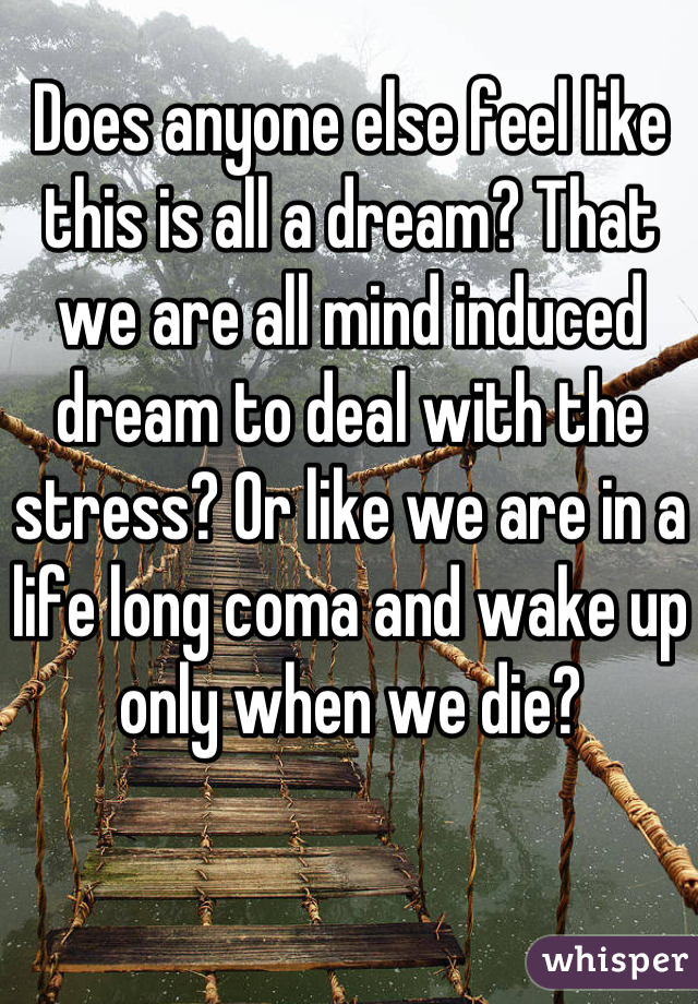 Does anyone else feel like this is all a dream? That we are all mind induced dream to deal with the stress? Or like we are in a life long coma and wake up only when we die?