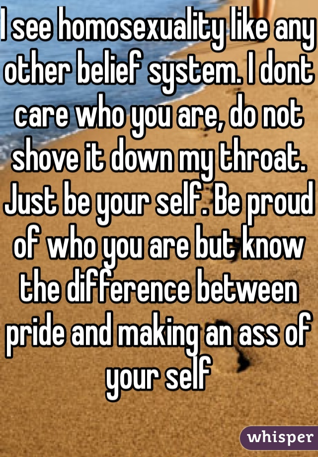 I see homosexuality like any other belief system. I dont care who you are, do not shove it down my throat. Just be your self. Be proud of who you are but know the difference between pride and making an ass of your self