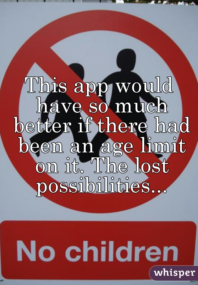 This app would have so much better if there had been an age limit on it. The lost possibilities...