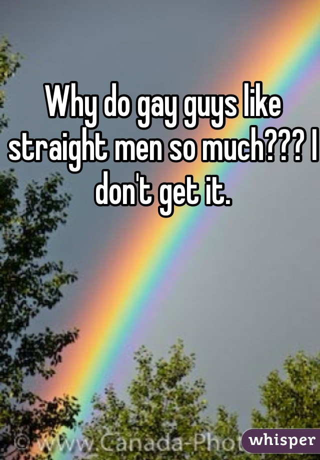 Why do gay guys like straight men so much??? I don't get it.