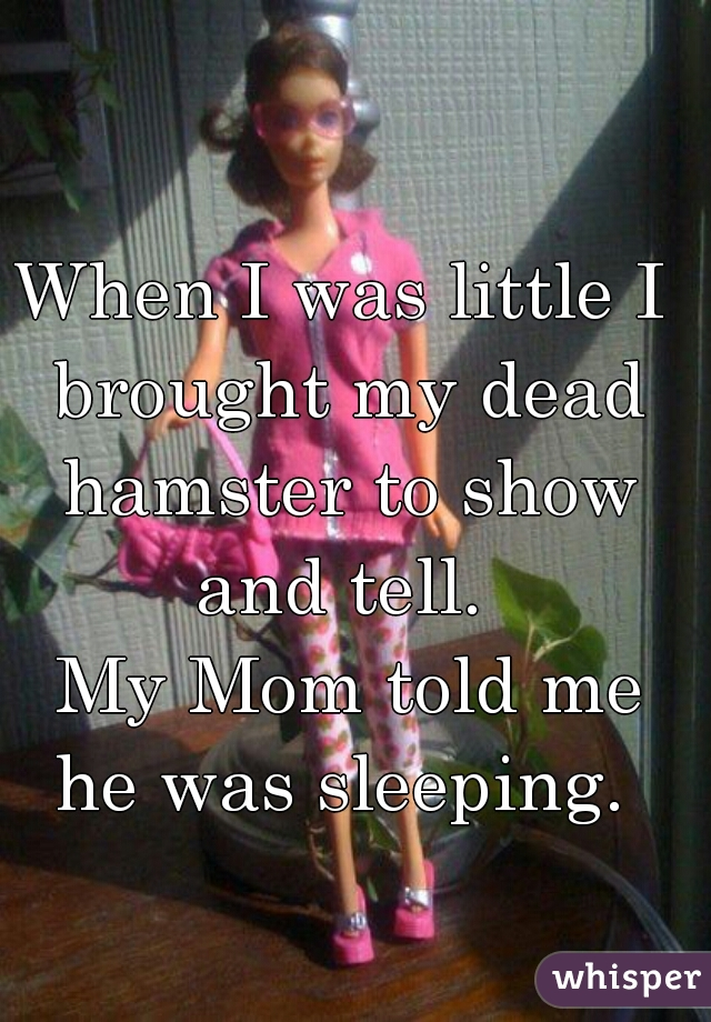 When I was little I brought my dead hamster to show and tell.   My Mom told me he was sleeping.