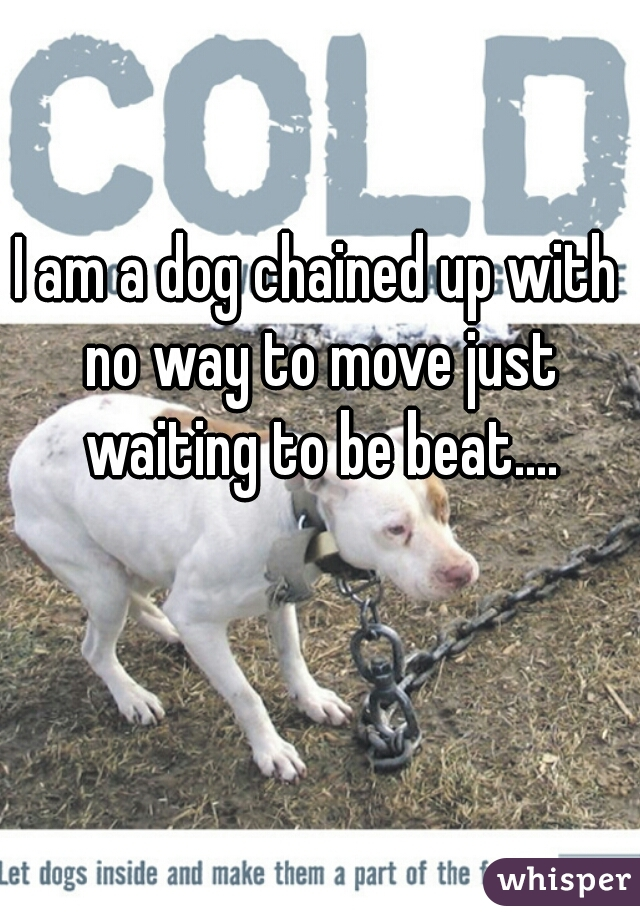 I am a dog chained up with no way to move just waiting to be beat....