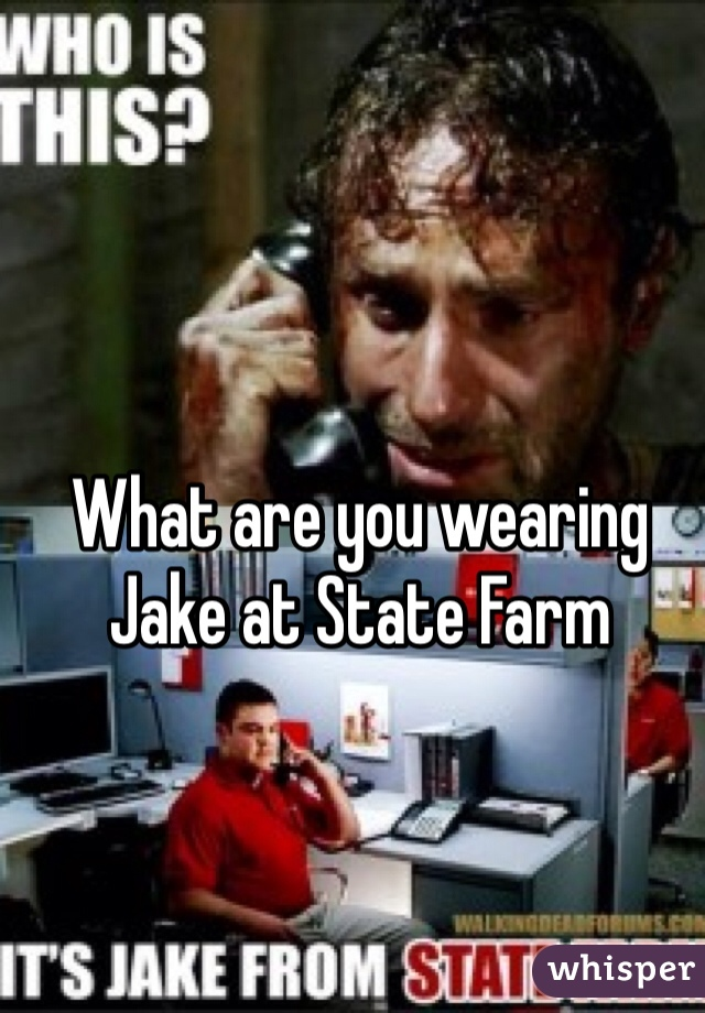 What are you wearing  Jake at State Farm