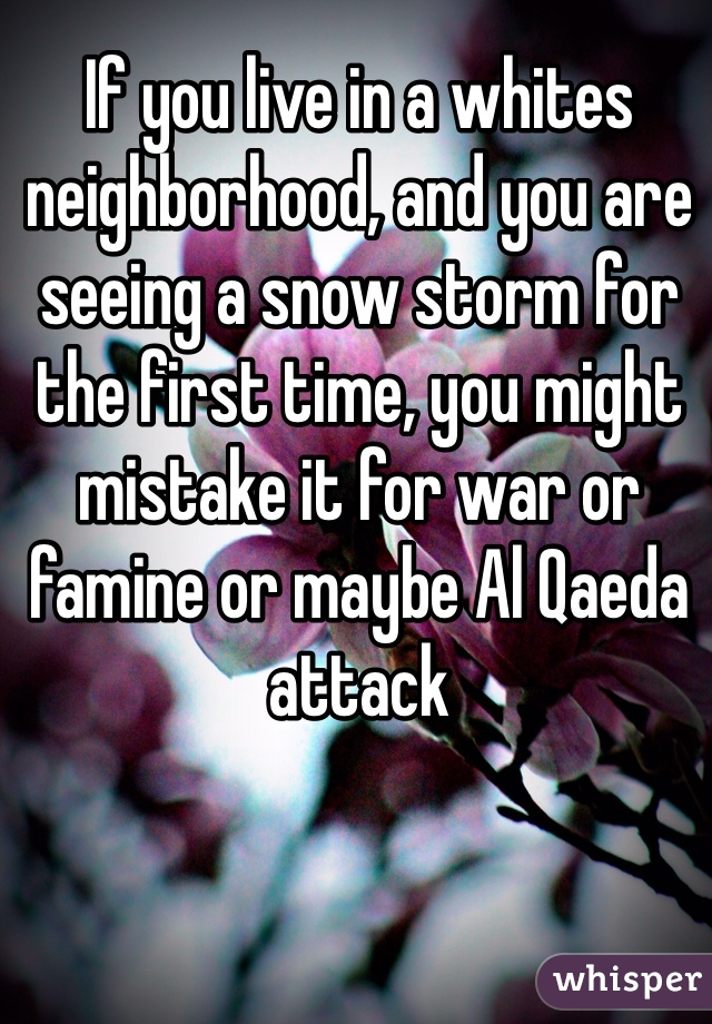 If you live in a whites neighborhood, and you are seeing a snow storm for the first time, you might mistake it for war or famine or maybe Al Qaeda attack