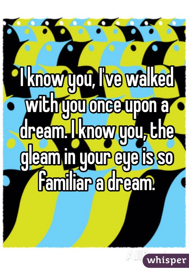 I know you, I've walked with you once upon a dream. I know you, the gleam in your eye is so familiar a dream.