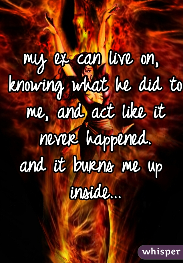 my ex can live on, knowing what he did to me, and act like it never happened. and it burns me up inside...