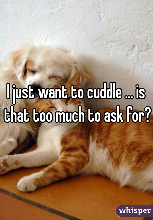 I just want to cuddle ... is that too much to ask for?