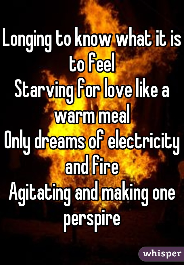 Longing to know what it is to feel Starving for love like a warm meal Only dreams of electricity and fire Agitating and making one perspire