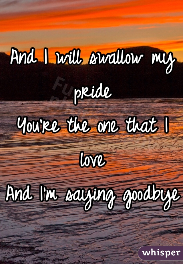 And I will swallow my pride You're the one that I love And I'm saying goodbye
